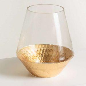 gold base vase