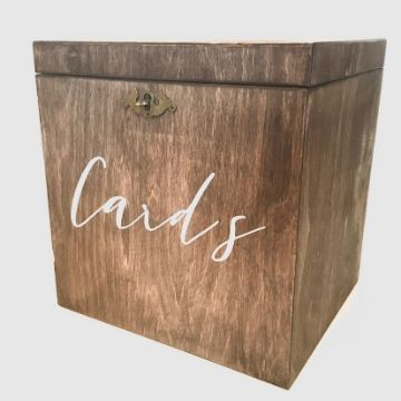 wooden card box with lock