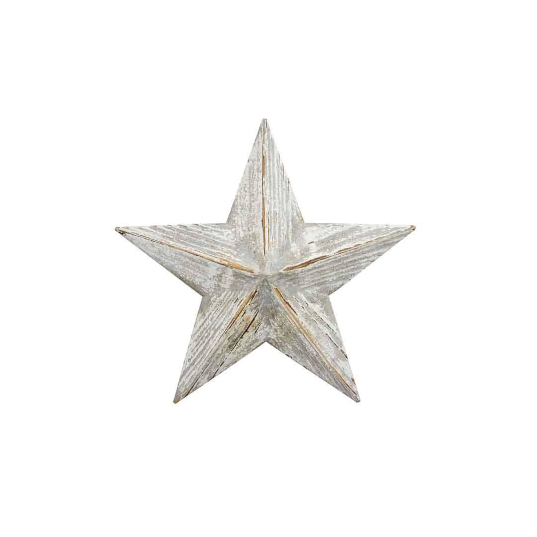 wooden white wash star small