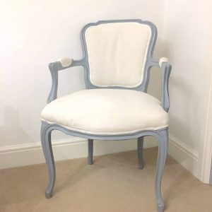 grey and off white chair
