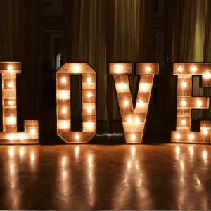 wooden letter lights