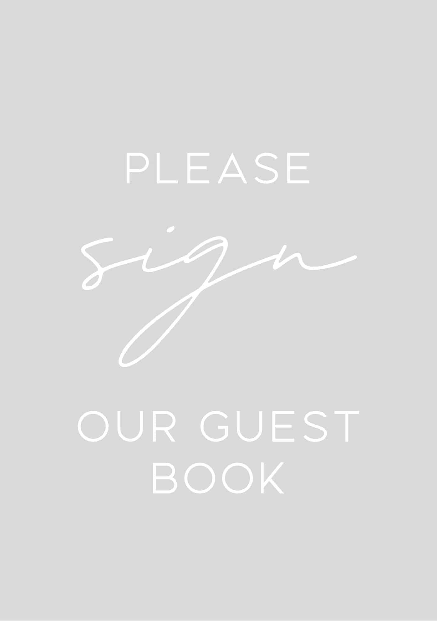 Grey guest book sign