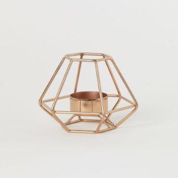 copper geometric tea light